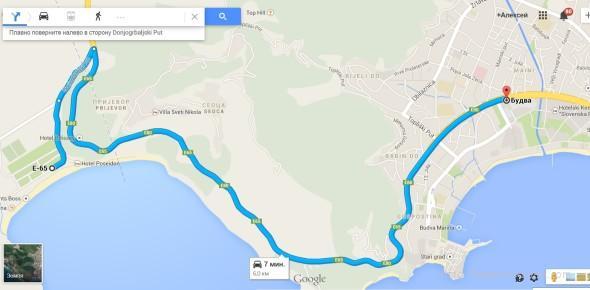 Карта как добраться из Будвы на пляж Яз