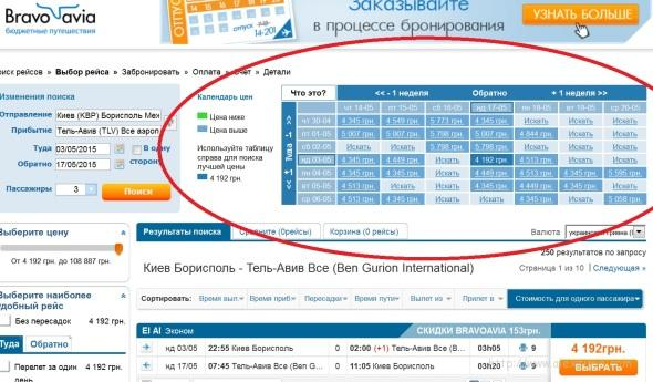 Авиабилеты Киев - Тель-Авив - BRAVOAVIA - календарь цен