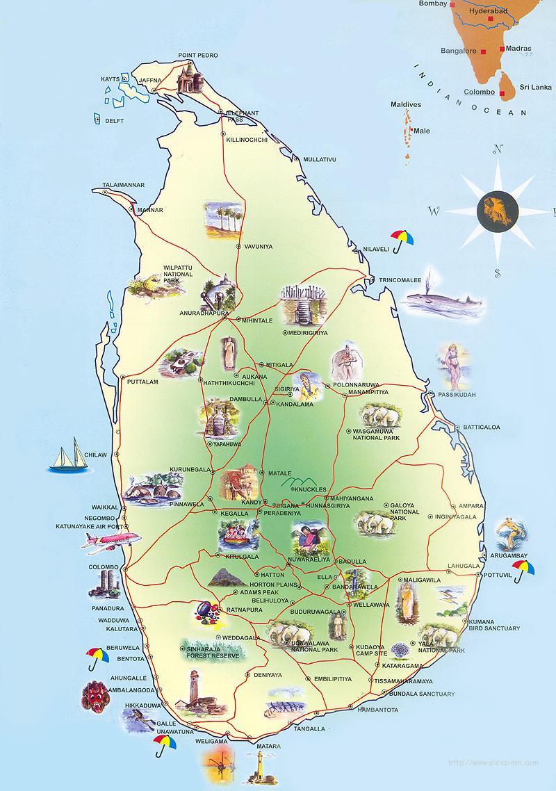 Туристическая карта Шри-Ланки