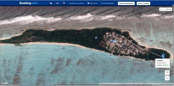 Остров Фуладу Мальдивы вид сверху на карте Букинга