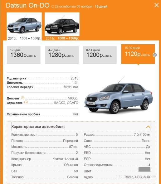 Аренда авто в КРЫМУ 2016 недорого Datsun On-DO