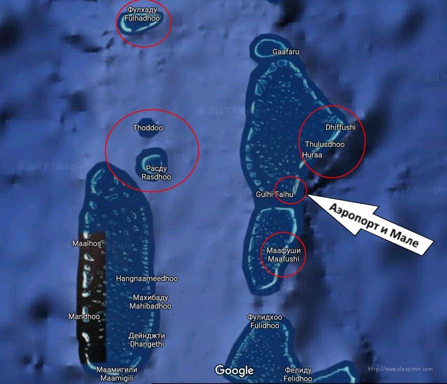 Мальдивы. Карта расположения основных бюджетных островов