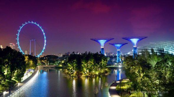 сады у залива в Сингапуре вечером