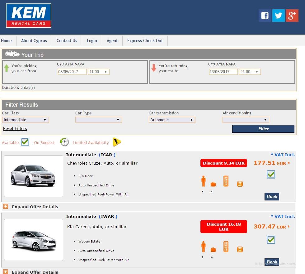 Стоимость аренды Шевроле на сайте KEM Rental Cars