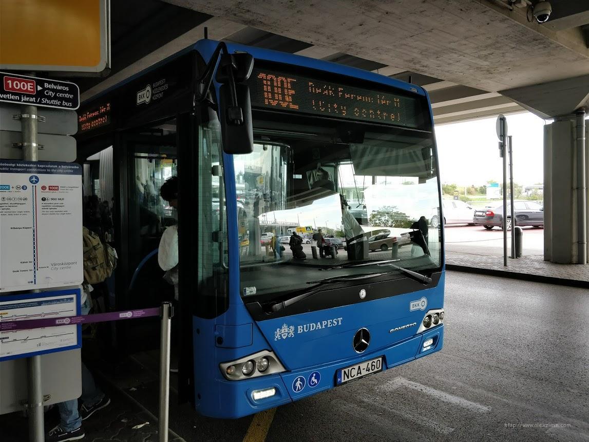 автобус 100Е из аэропорта Будапешта
