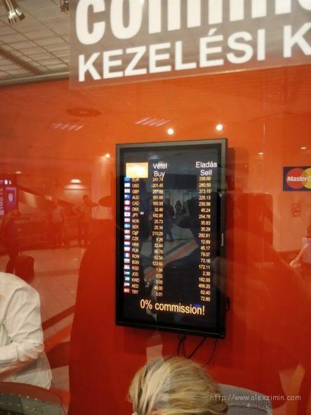Курсы валют в аэропорту Будапешта