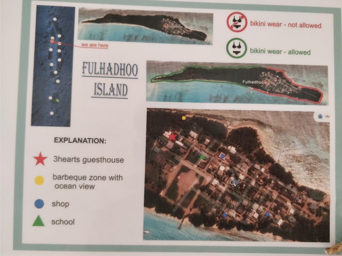Карта острова Фуладу и расположение пляжа и зоны БИКИНИ