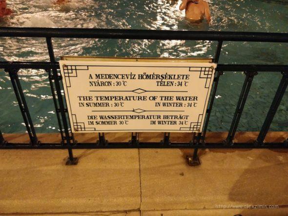 температура воды в бассейне купальни Сечени