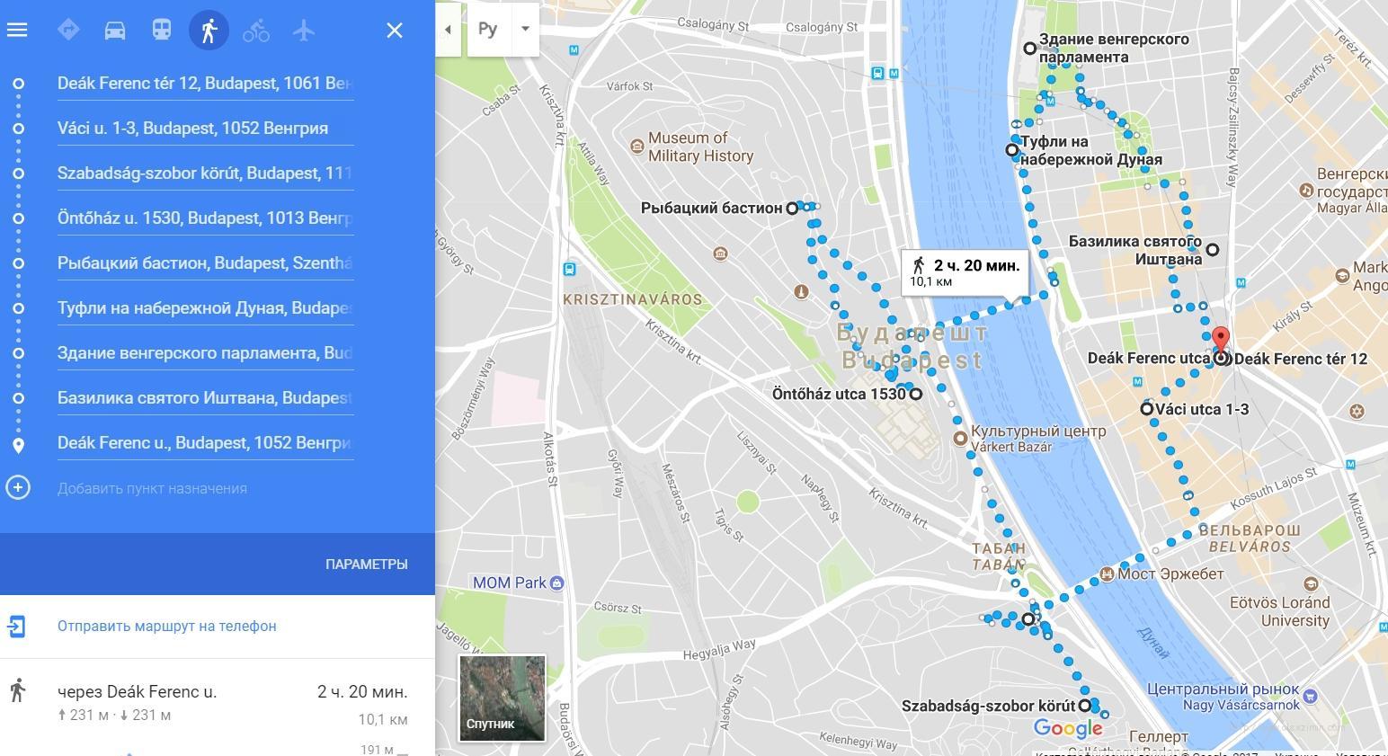 Будапешт. Пешеходный маршрут