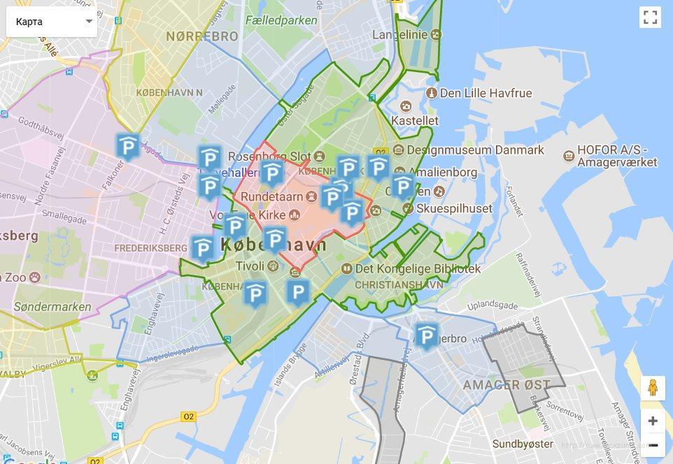 Зоны парковки в Копенгагене. Карта