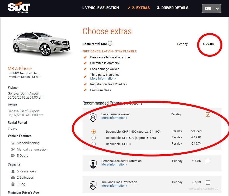 Обязательная страховка на сайте SIXT при бронировании автомобиля в Швейцарии