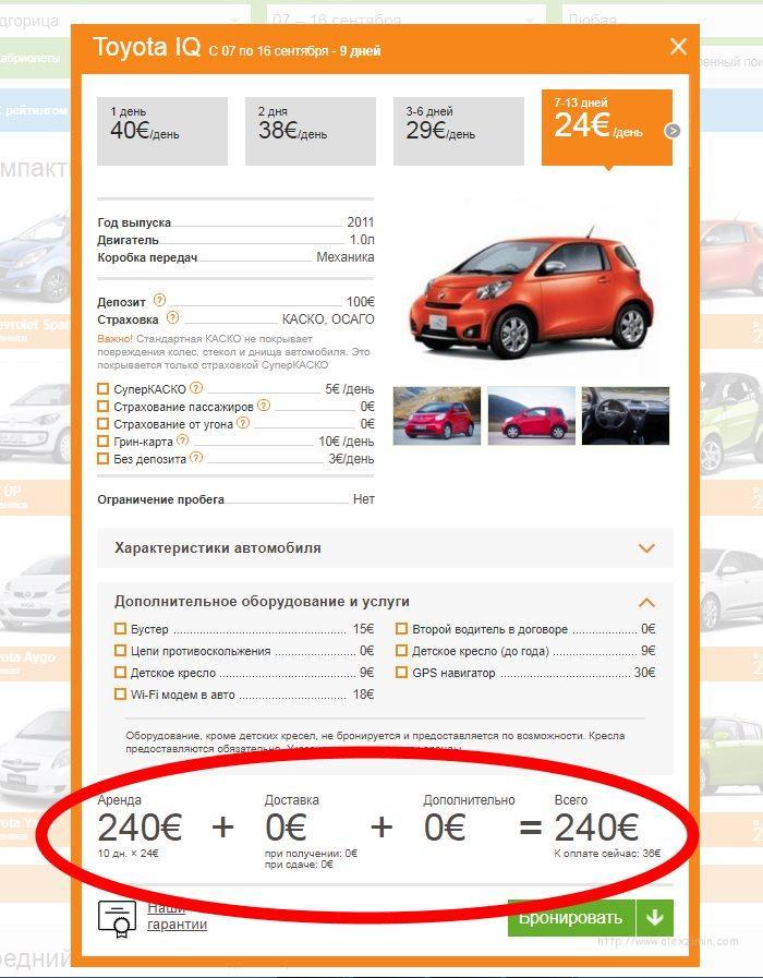 Аренда авто в Черногории в аэропорту Подгорица с бесплатной доставкой