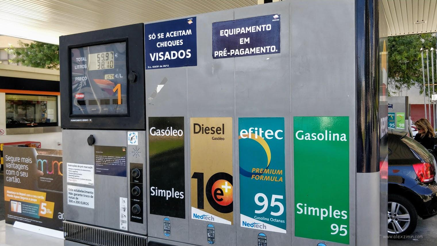 Заправки в Португалии. Типы топлива