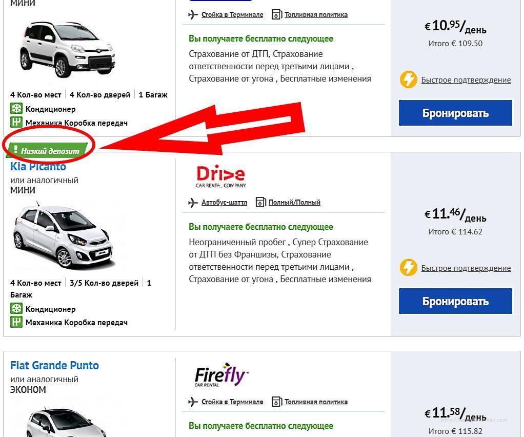 Машины с низким депозитом при бронировании авто в Греции на сайте Экономибукингс