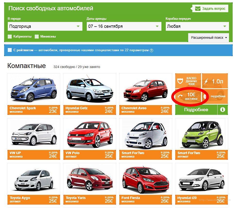 Поиск аренды авто в аэропорту Подгорица на сайте Автотревел