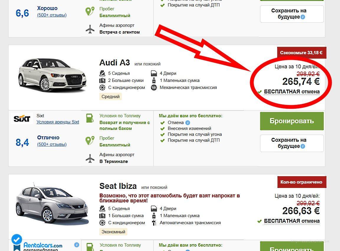 Стоимость аренды авто в Грециии наRentalcarsцена была выше - 265,74евро
