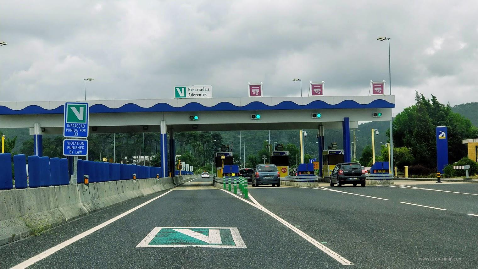 Выделенная полоса на дороге для транспондера Via Verde