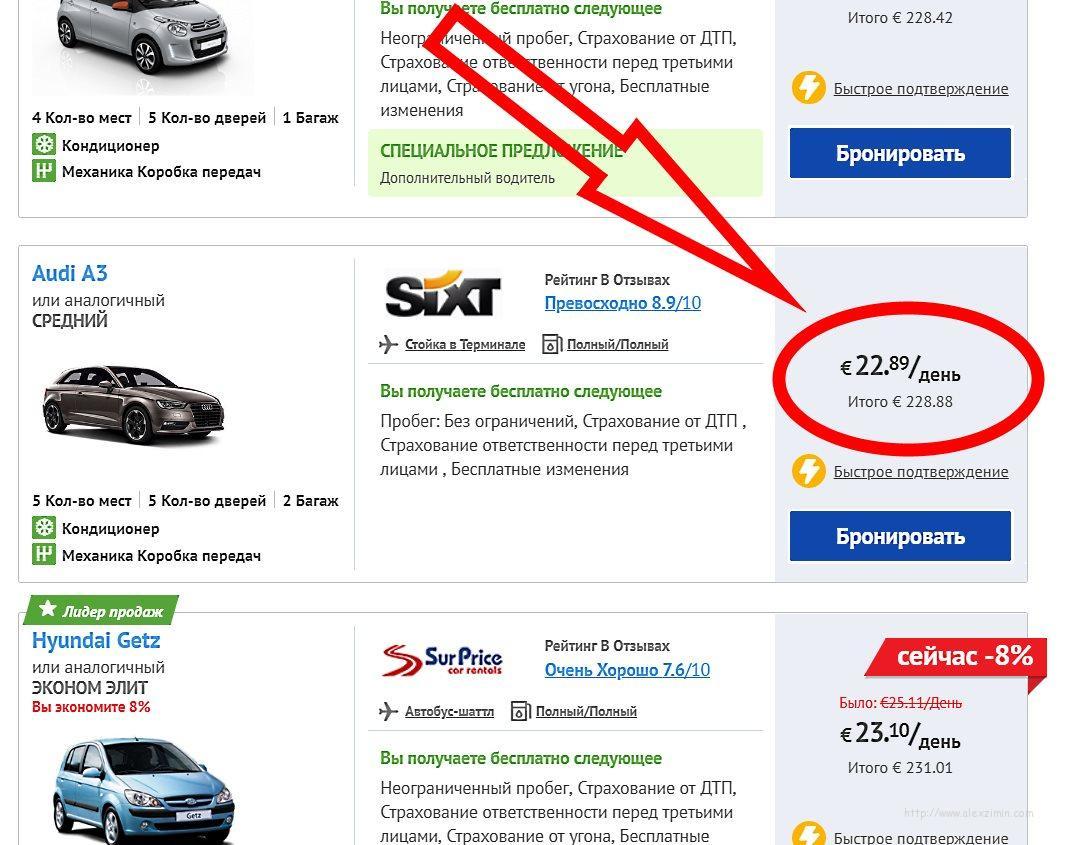 Аренда авто в Греции. Audi A3 или аналог от прокатчика SIXT на сайтеEconomybookings