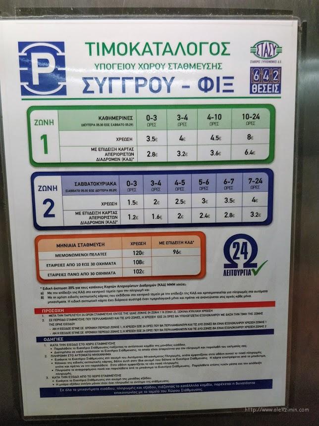 Стоимость парковки наParking Metro Syggrou Fix в Афинах, Греция