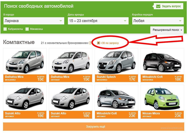 Бронирование авто на Кипре на сайте Майрентакар