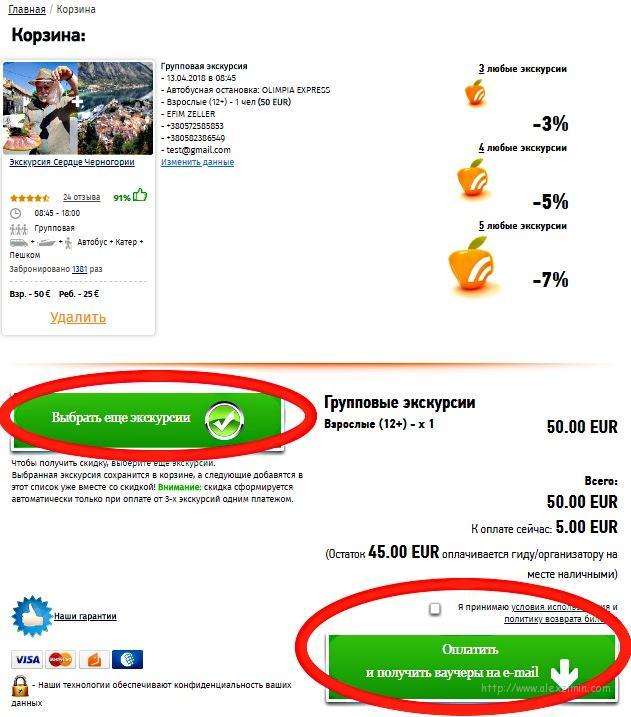 Процедура бронирования экскурсий в Черногории онлайн. Шаг 5