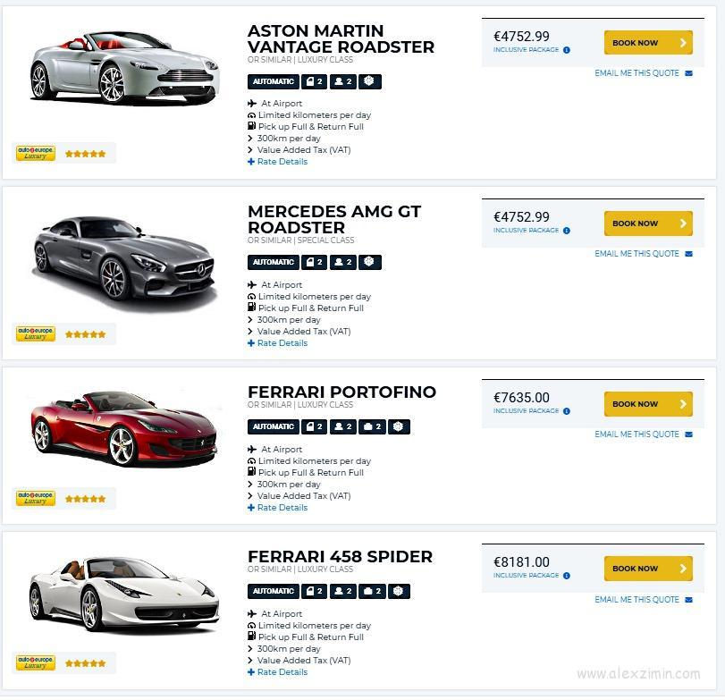 Аренда авто в Швейцарии. Машины люкс класса. Женева. Цена за 7 дней