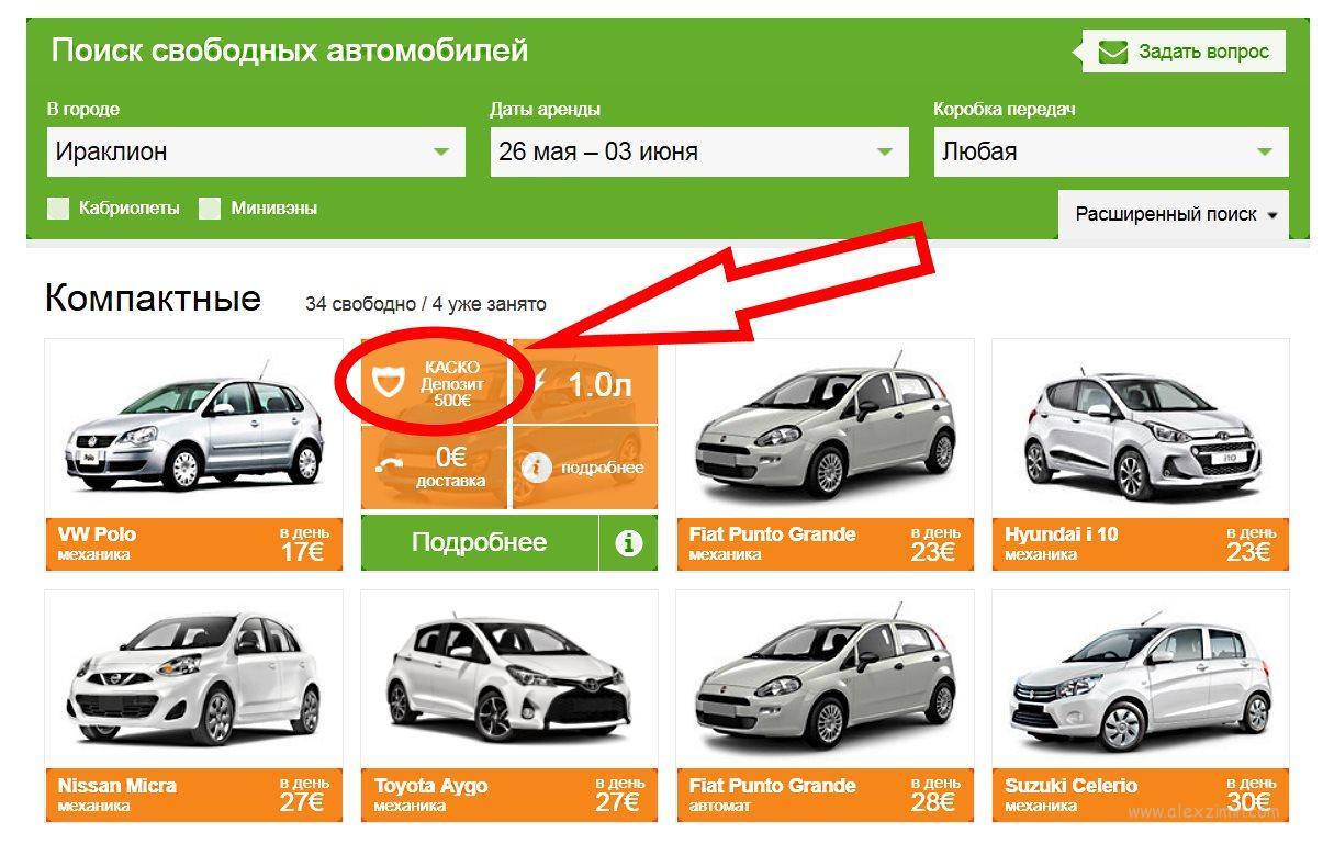Как найти машину без депозита на сайте Майрентакар в Греции на острове Крит 1