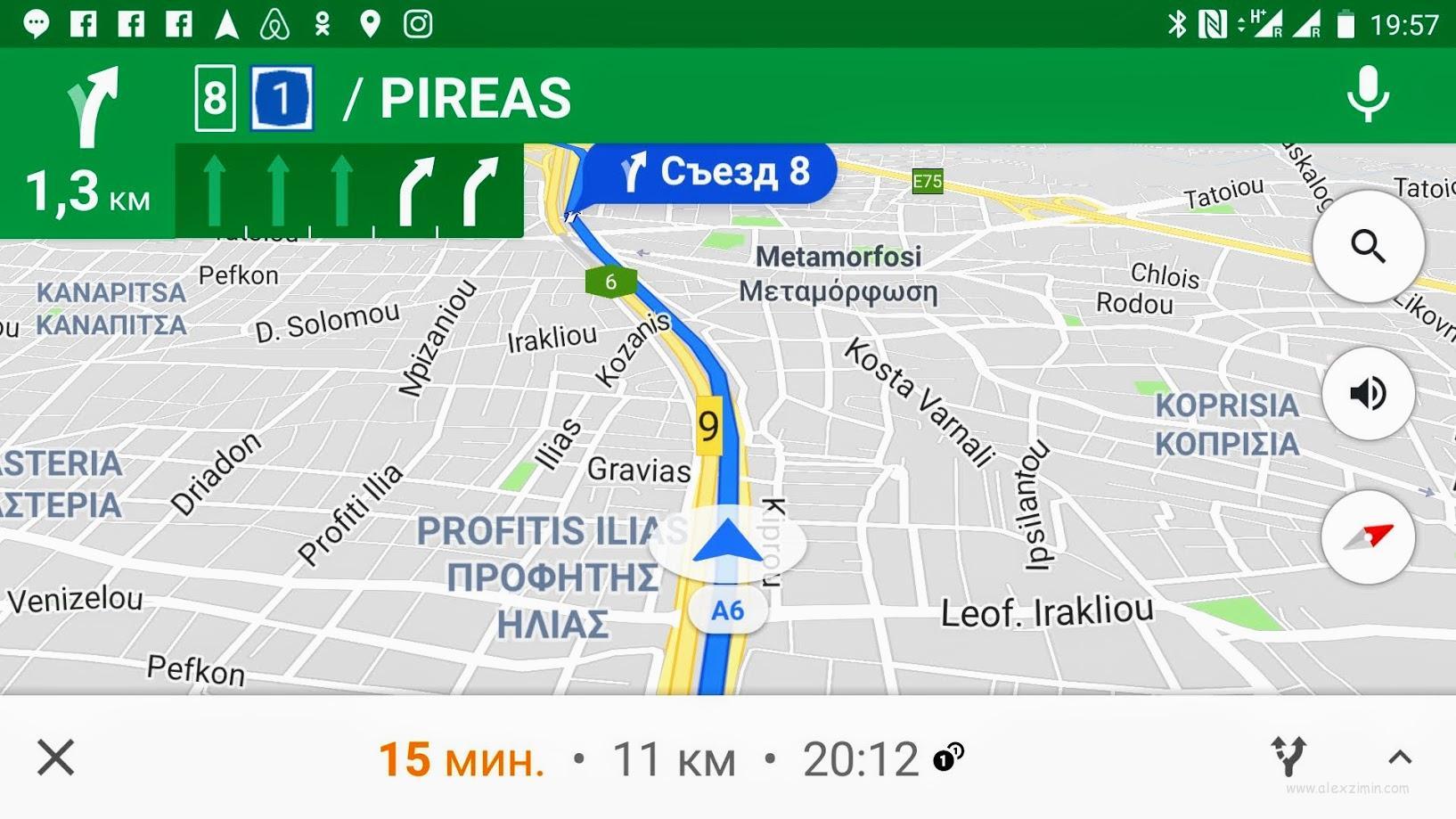 Использование Google карты в качестве навигатора по Греции