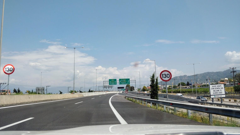 Платные дороги в Греции. Ограничение скорости в сторону Афин