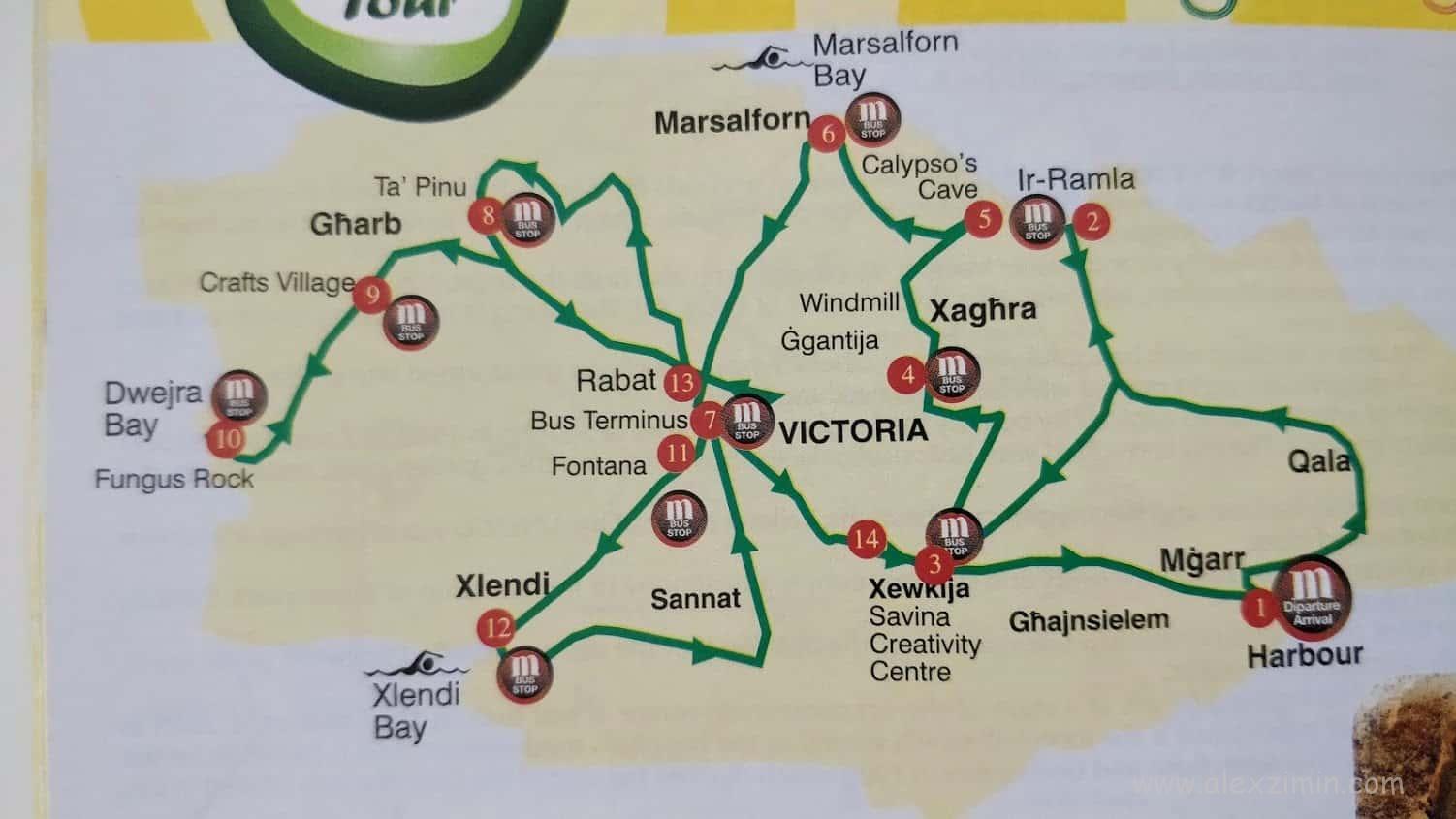 Карта-схема движения туристического автобуса по острову Гоцо