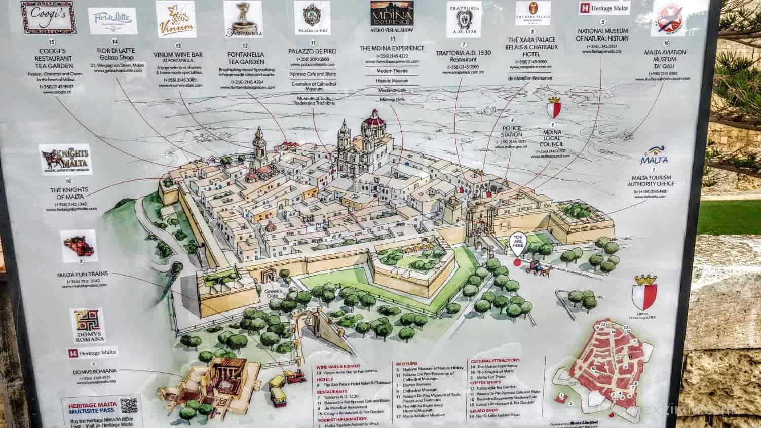 Карта древнего города Мдина