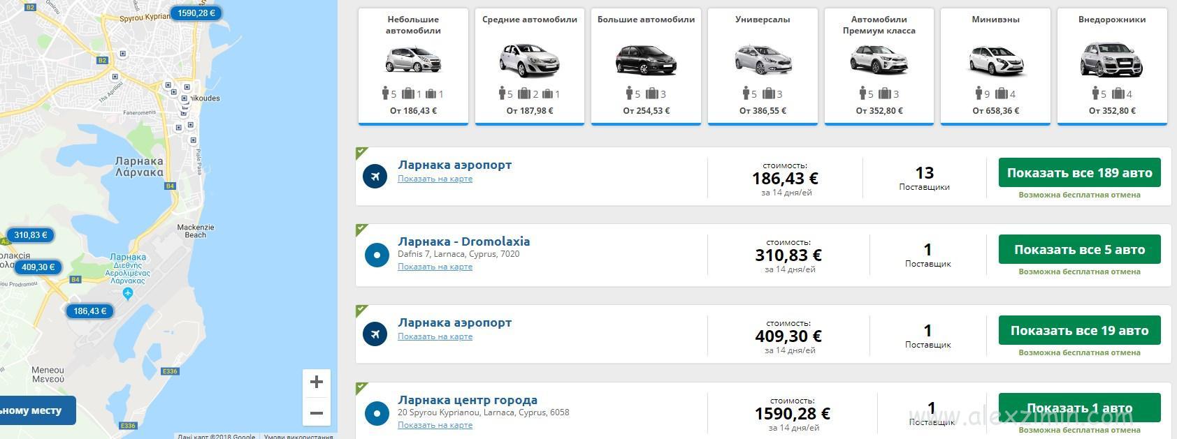 Лучшие цены на Ренталкарс именно в аэропорту Ларнака