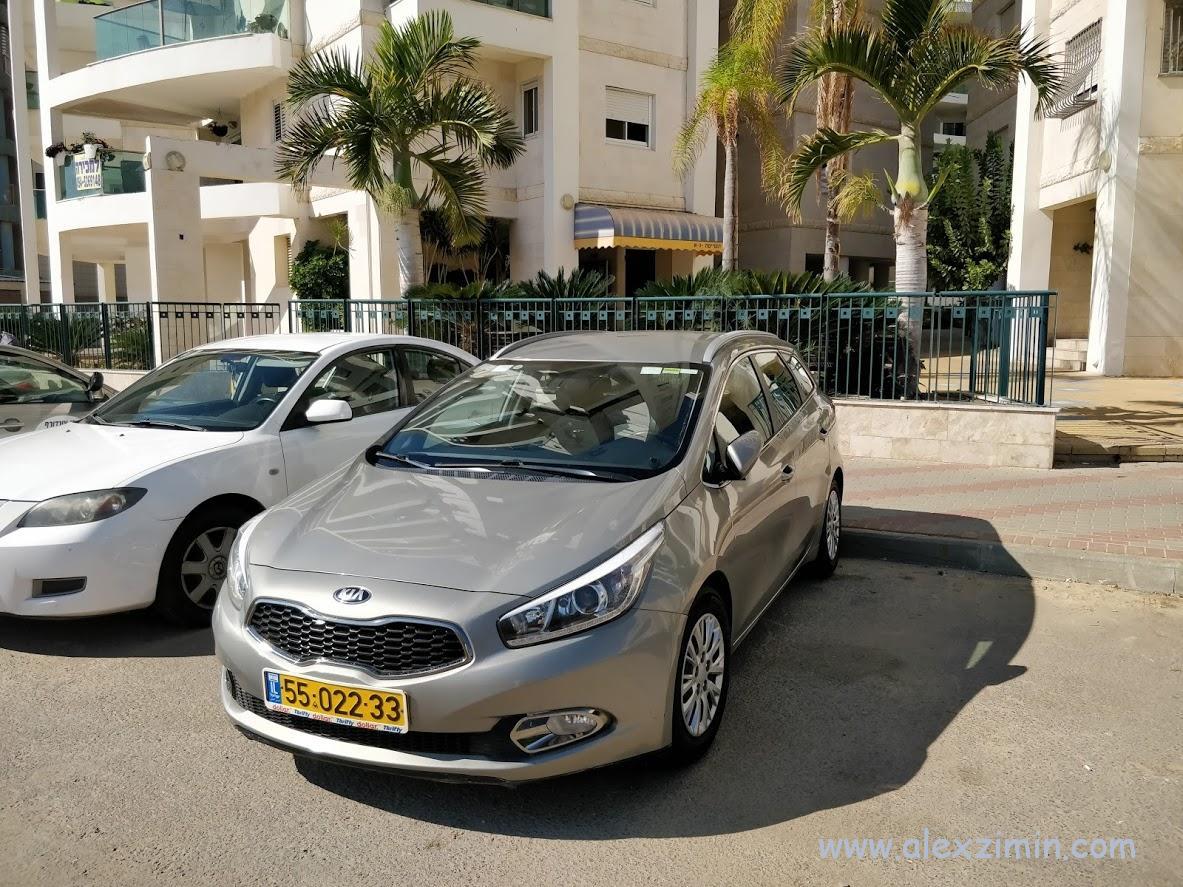 Автомобиль KIA Ceed который мы арендовали в аэропорту Тель-Авива
