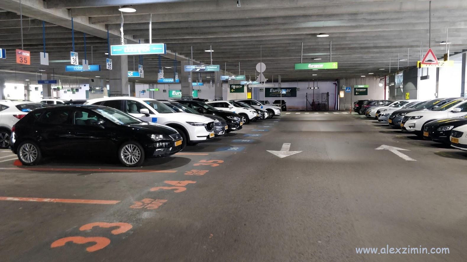 Стоянка прокатных машин в аэропорту Бен Гурион