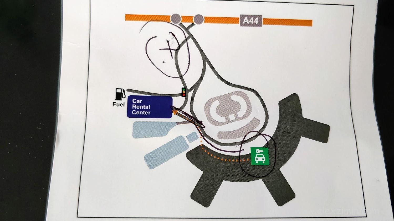 Расположение паркинга прокатных машин возле аэропорта Дюссельдорфа