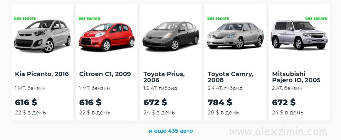 Выбор авто на сайте Майрентакар пример