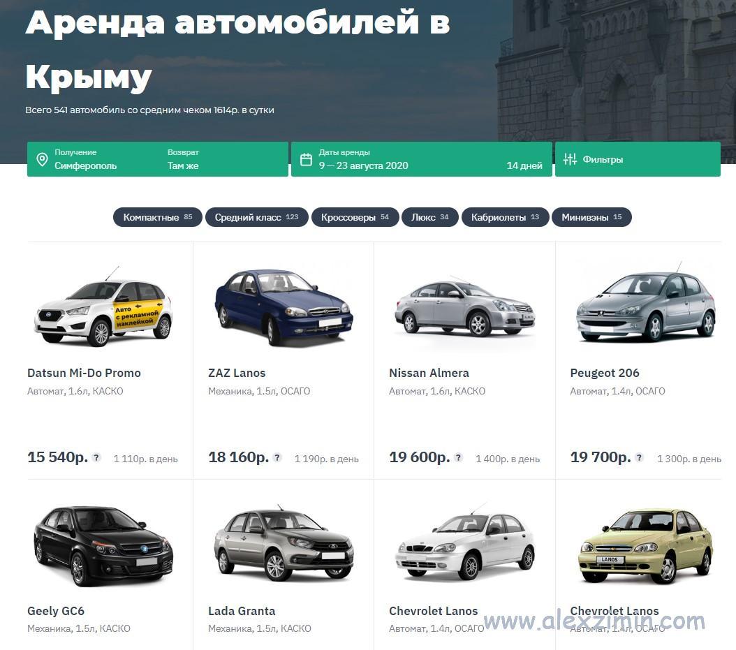 Сайт по аренде авто в Крыму Myrentacar