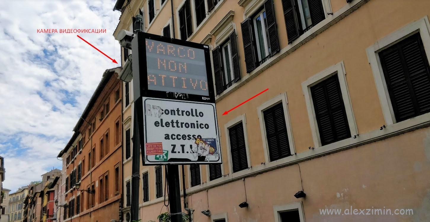Знак ограничения движения трафика в Риме и камера видеофиксации Zona Traffico Limitato ZTL