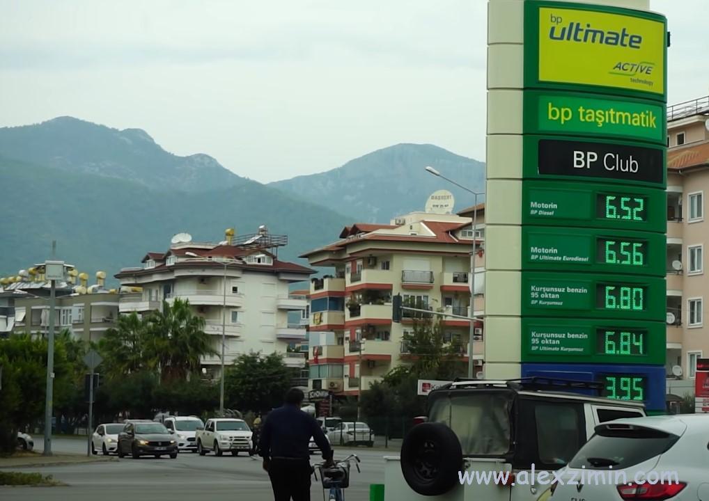 Цены на бензин в Турции на заправке на начало 2021